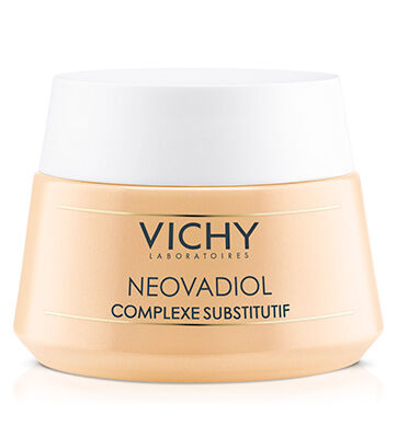 The 1st Vichy anti-aging day cream with a breakthrough Compensating Complex to treat 4 fundamental signs of menopause on skin: loss of density, loss of structure, sagging, and dryness.