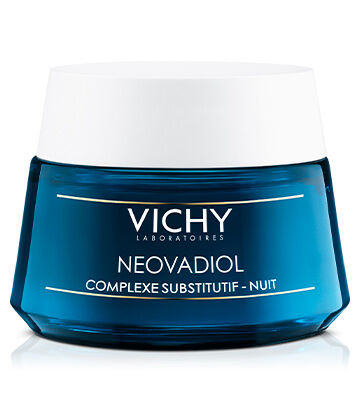 A relaxing anti-aging night cream with Vichy\\\'s breakthrough Compensating Complex to treat 4 fundamental signs of menopause on skin: loss of density, loss of structure, sagging, and dryness. Skin feels comforted and looks rested by morning.